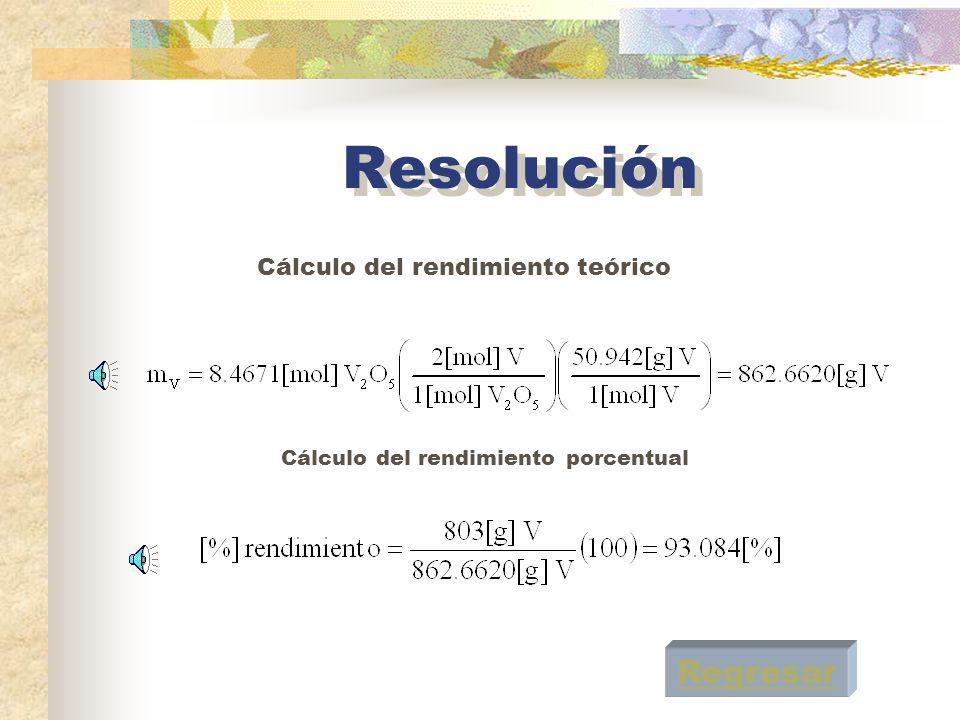 Resolución Regresar Cálculo del rendimiento teórico