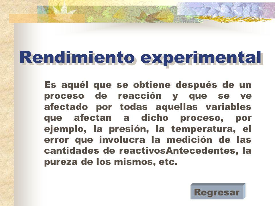 Rendimiento experimental