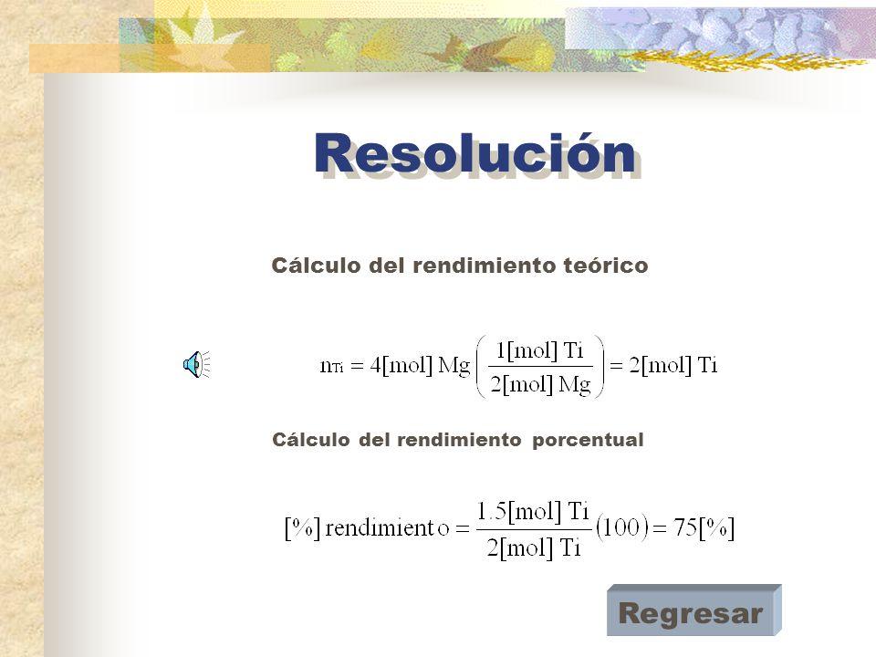 Cálculo del rendimiento teórico