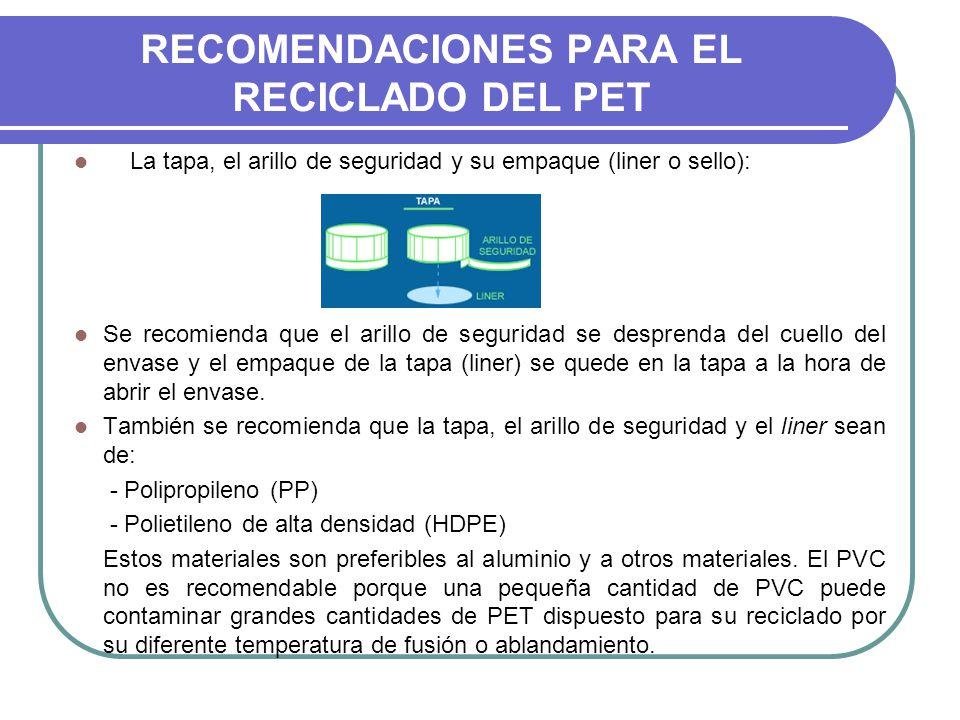 RECOMENDACIONES PARA EL RECICLADO DEL PET