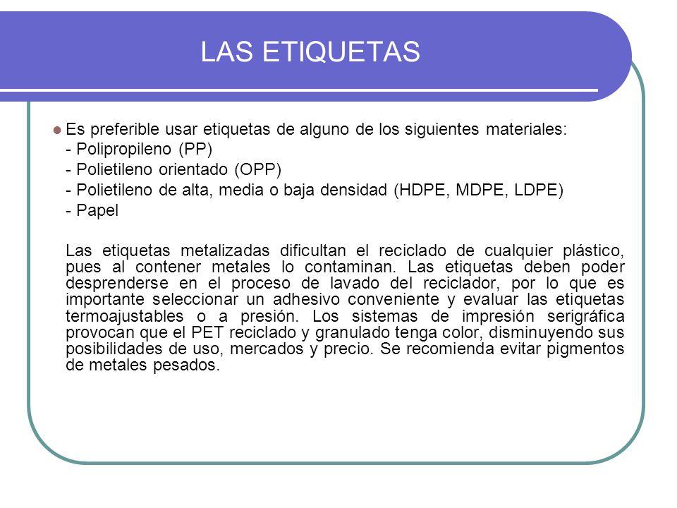 LAS ETIQUETAS Es preferible usar etiquetas de alguno de los siguientes materiales: - Polipropileno (PP)