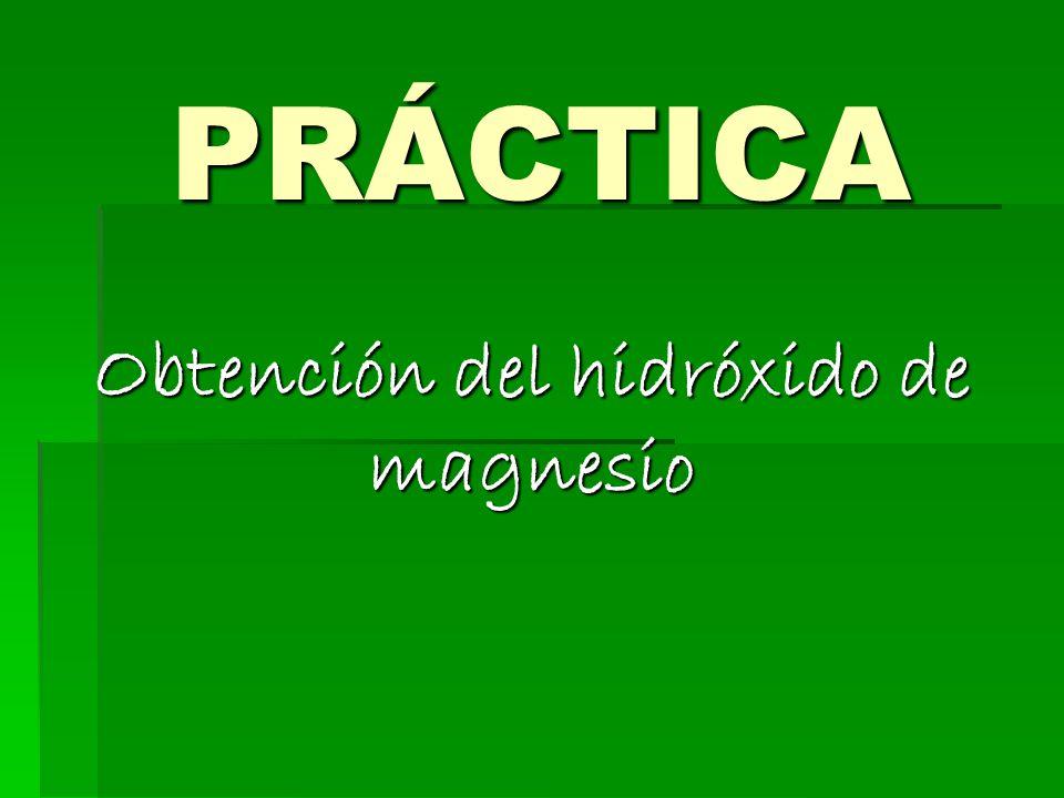 Obtención del hidróxido de magnesio