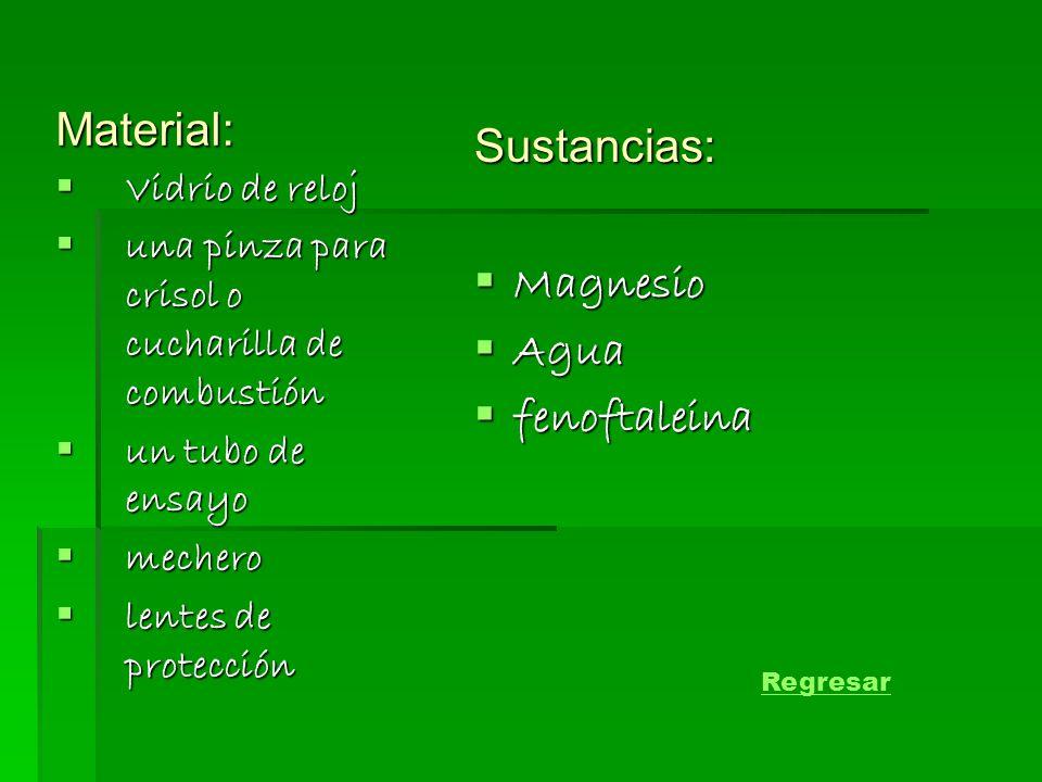 Material: Sustancias: Magnesio Agua fenoftaleina Vidrio de reloj