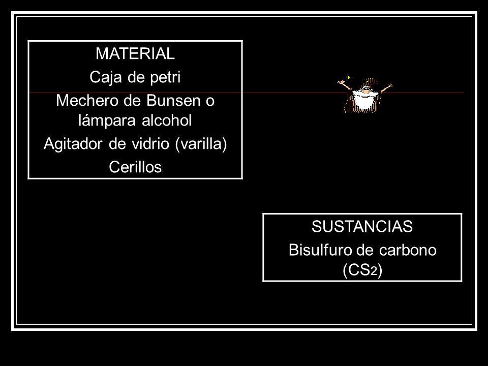 Mechero de Bunsen o lámpara alcohol Agitador de vidrio (varilla)