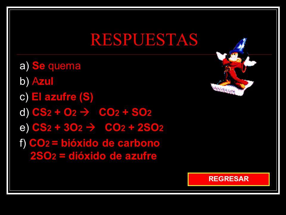 RESPUESTAS a) Se quema b) Azul c) El azufre (S)