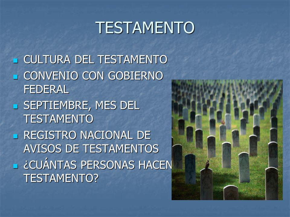 TESTAMENTO CULTURA DEL TESTAMENTO CONVENIO CON GOBIERNO FEDERAL