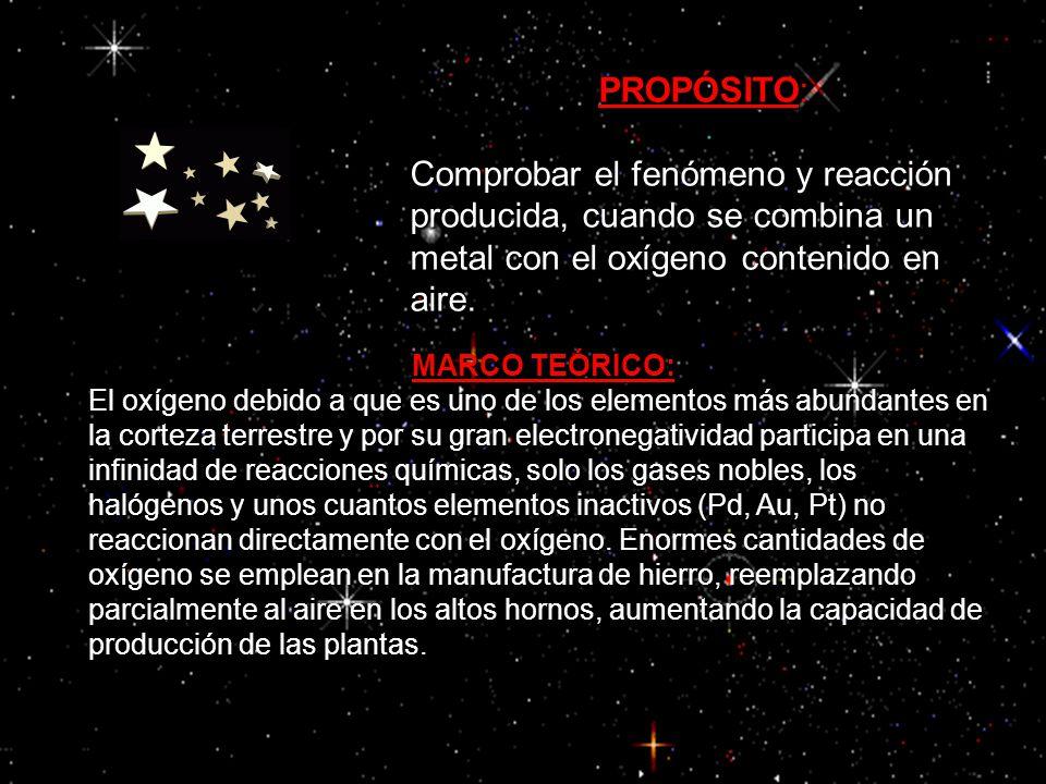 PROPÓSITO: Comprobar el fenómeno y reacción producida, cuando se combina un metal con el oxígeno contenido en aire.
