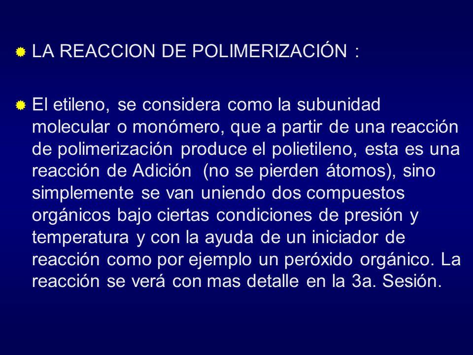 LA REACCION DE POLIMERIZACIÓN :