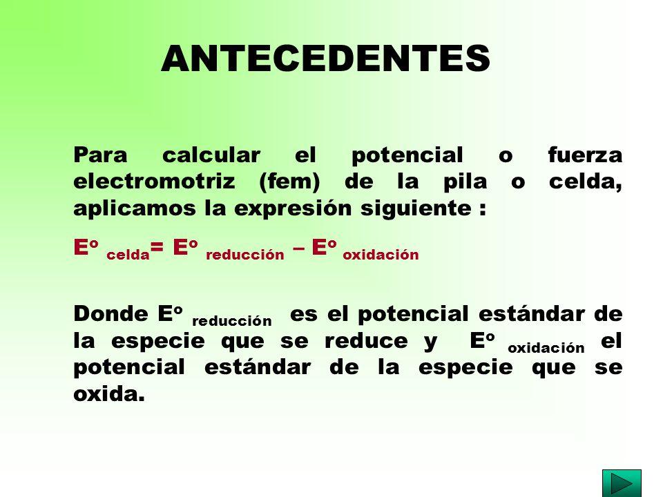 ANTECEDENTES Para calcular el potencial o fuerza electromotriz (fem) de la pila o celda, aplicamos la expresión siguiente :
