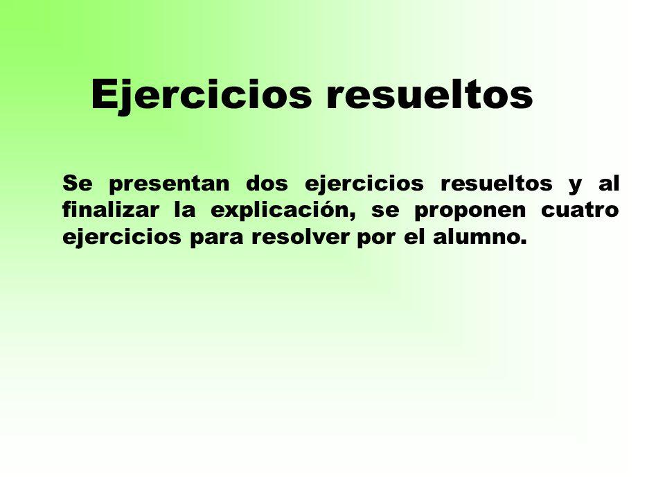Ejercicios resueltos Se presentan dos ejercicios resueltos y al finalizar la explicación, se proponen cuatro ejercicios para resolver por el alumno.