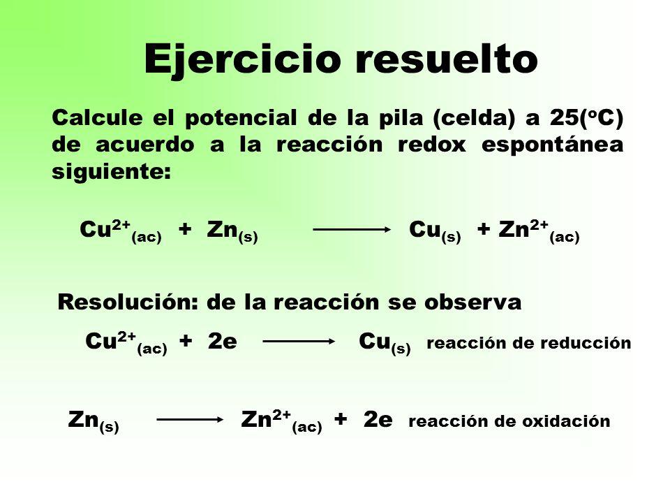 Ejercicio resuelto Calcule el potencial de la pila (celda) a 25(oC) de acuerdo a la reacción redox espontánea siguiente: