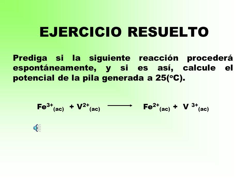 Fe3+(ac) + V2+(ac) Fe2+(ac) + V 3+(ac)