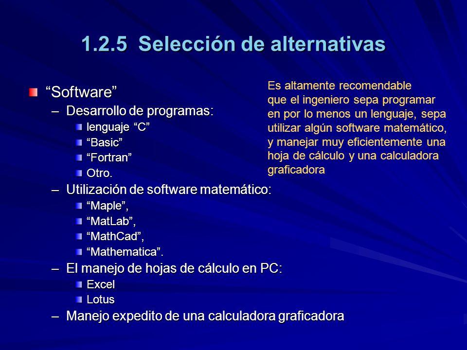 1.2.5 Selección de alternativas
