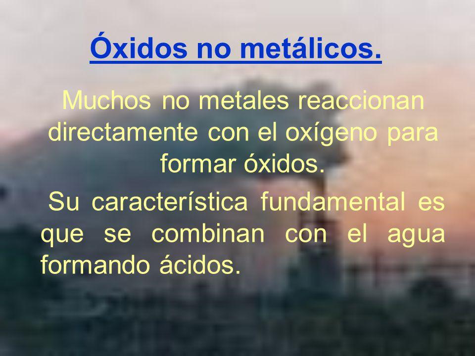 Óxidos no metálicos. Muchos no metales reaccionan directamente con el oxígeno para formar óxidos.