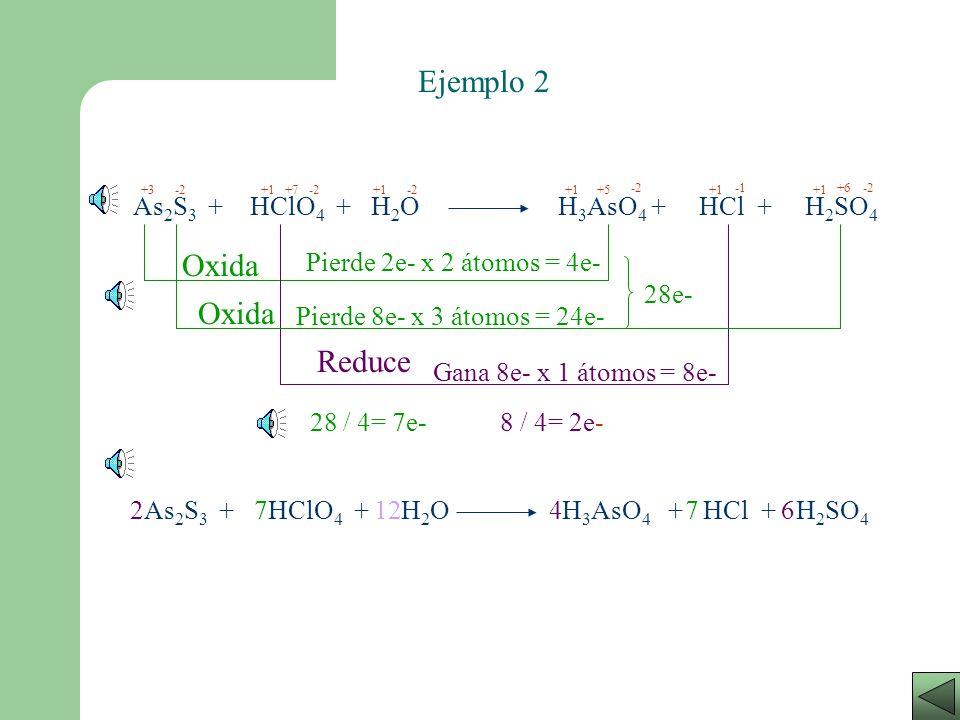 Ejemplo 2 Oxida Oxida Reduce As2S3 + HClO4 + H2O H3AsO4 + HCl + H2SO4