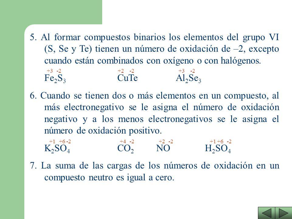 5. Al formar compuestos binarios los elementos del grupo VI (S, Se y Te) tienen un número de oxidación de –2, excepto cuando están combinados con oxígeno o con halógenos.