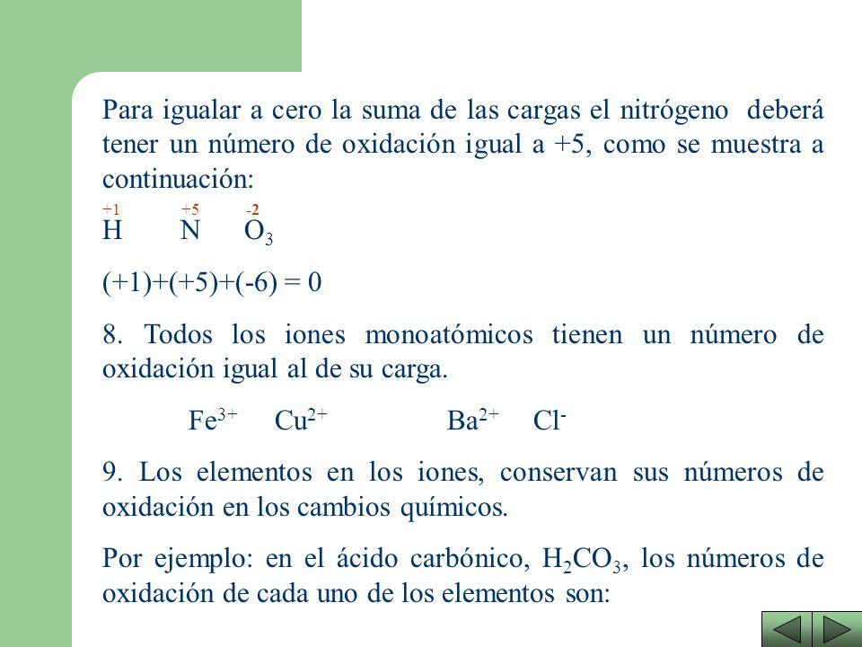 Para igualar a cero la suma de las cargas el nitrógeno deberá tener un número de oxidación igual a +5, como se muestra a continuación: