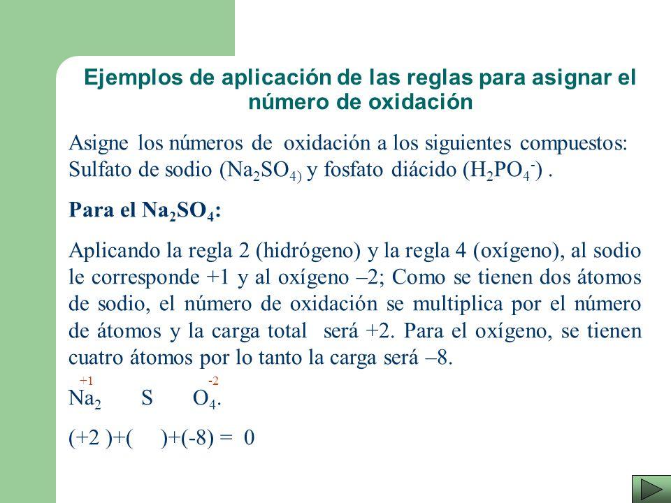 Ejemplos de aplicación de las reglas para asignar el número de oxidación
