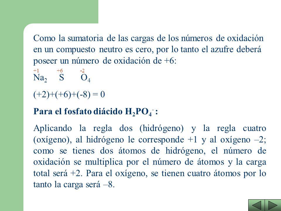 Para el fosfato diácido H2PO4- :