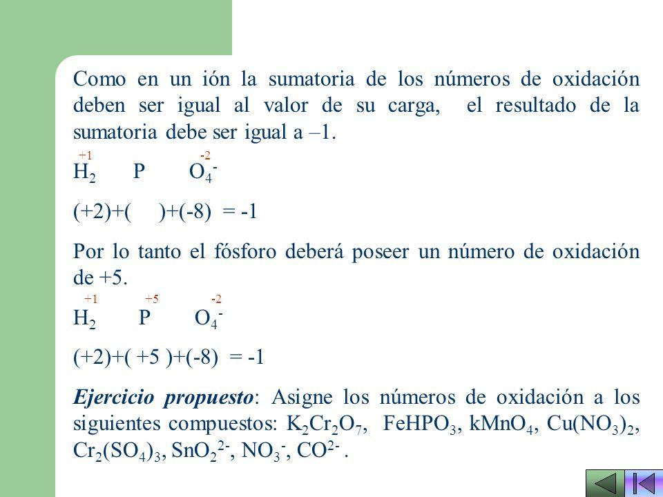 Por lo tanto el fósforo deberá poseer un número de oxidación de +5.