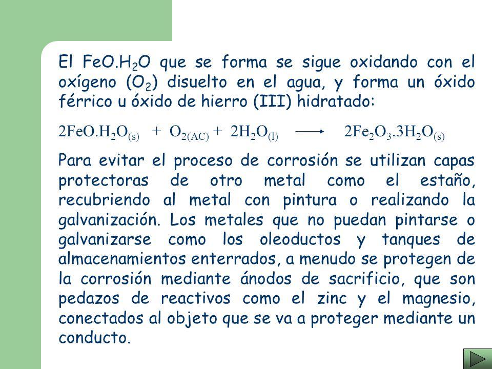 El FeO.H2O que se forma se sigue oxidando con el oxígeno (O2) disuelto en el agua, y forma un óxido férrico u óxido de hierro (III) hidratado: