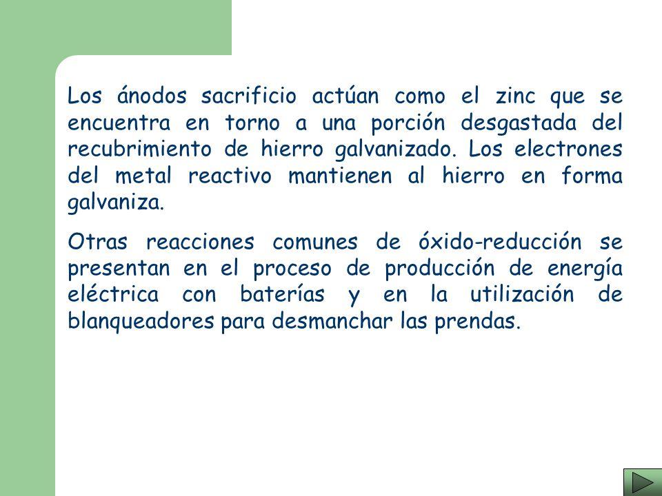 Los ánodos sacrificio actúan como el zinc que se encuentra en torno a una porción desgastada del recubrimiento de hierro galvanizado. Los electrones del metal reactivo mantienen al hierro en forma galvaniza.