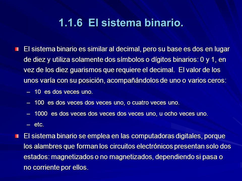 1.1.6 El sistema binario.