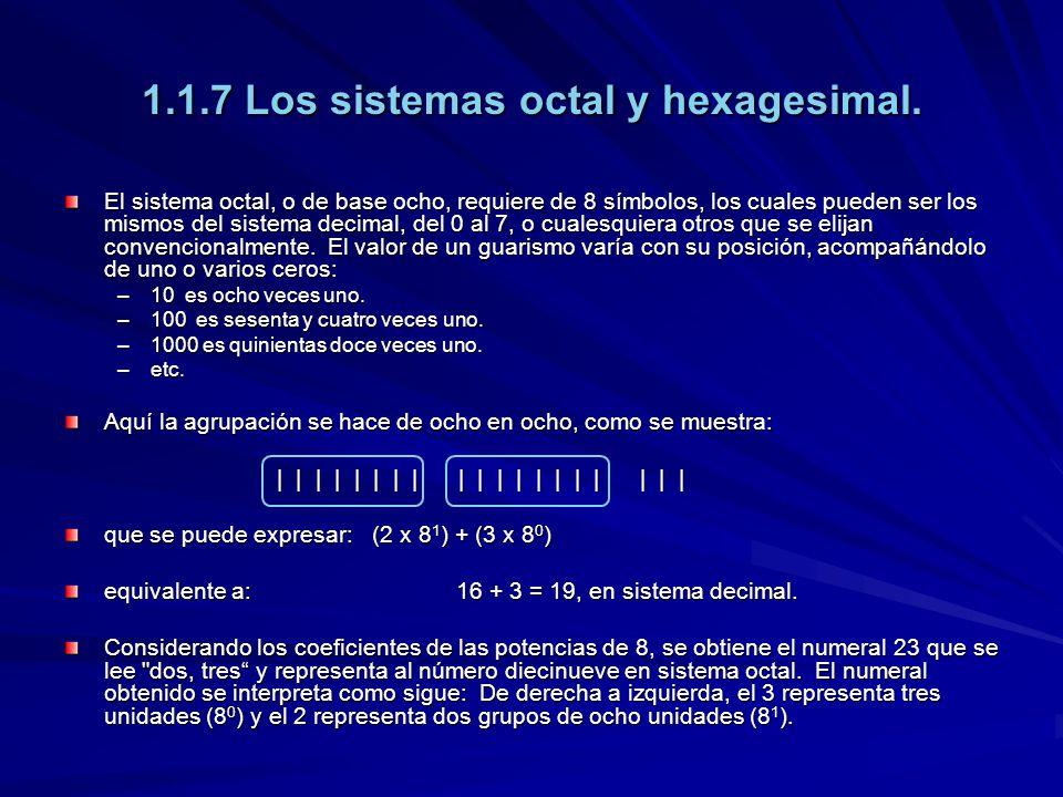 1.1.7 Los sistemas octal y hexagesimal.