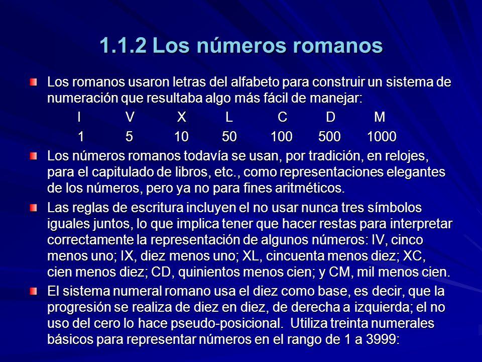 1.1.2 Los números romanos Los romanos usaron letras del alfabeto para construir un sistema de numeración que resultaba algo más fácil de manejar:
