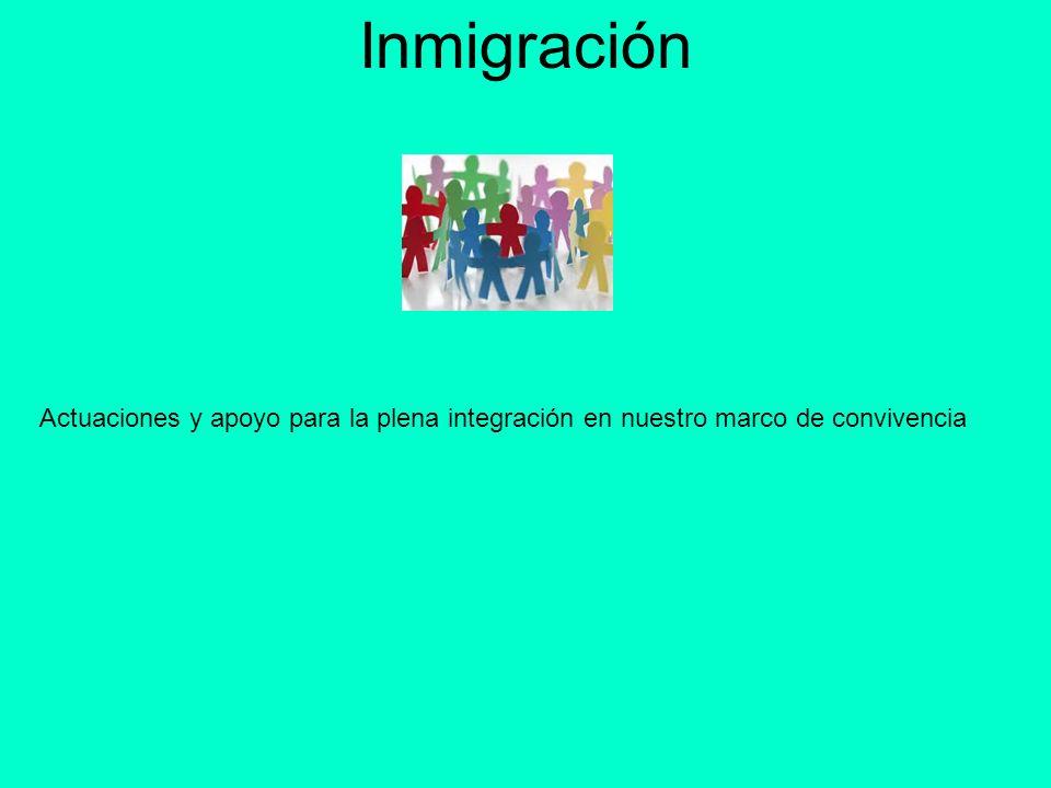 Inmigración Actuaciones y apoyo para la plena integración en nuestro marco de convivencia