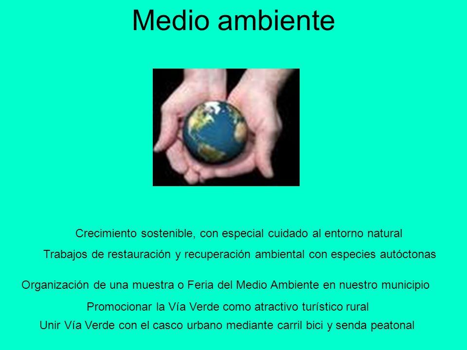 Medio ambiente Crecimiento sostenible, con especial cuidado al entorno natural.