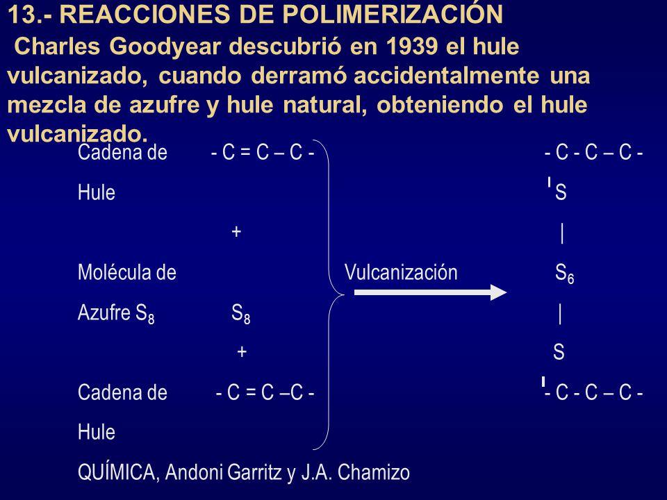 13.- REACCIONES DE POLIMERIZACIÓN Charles Goodyear descubrió en 1939 el hule vulcanizado, cuando derramó accidentalmente una mezcla de azufre y hule natural, obteniendo el hule vulcanizado.