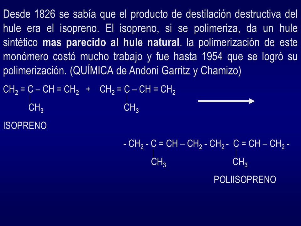Desde 1826 se sabía que el producto de destilación destructiva del hule era el isopreno. El isopreno, si se polimeriza, da un hule sintético mas parecido al hule natural. la polimerización de este monómero costó mucho trabajo y fue hasta 1954 que se logró su polimerización. (QUÍMICA de Andoni Garritz y Chamizo)