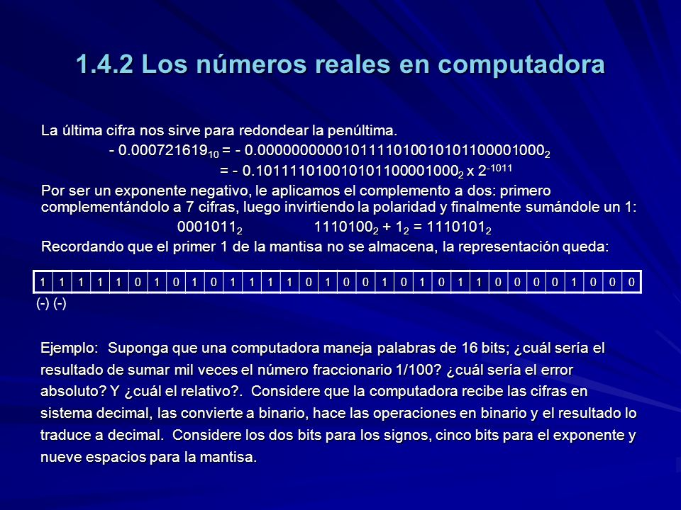 1.4.2 Los números reales en computadora