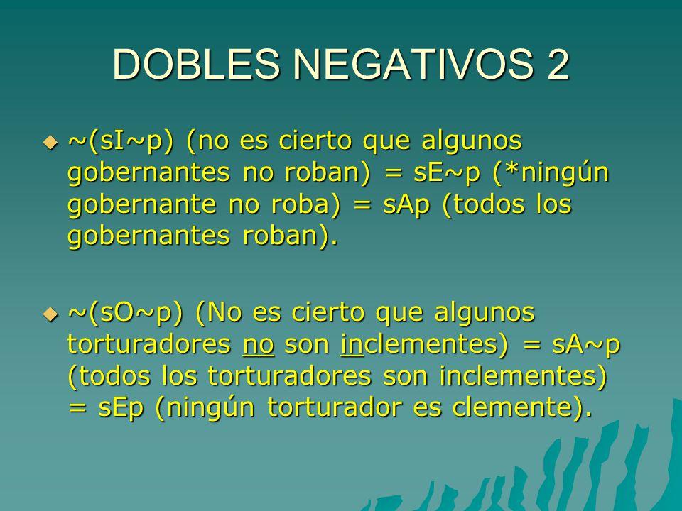 DOBLES NEGATIVOS 2 ~(sI~p) (no es cierto que algunos gobernantes no roban) = sE~p (*ningún gobernante no roba) = sAp (todos los gobernantes roban).