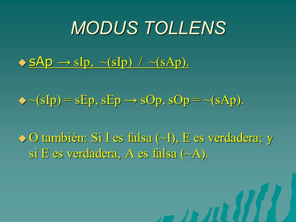 MODUS TOLLENS sAp → sIp, ~(sIp) / ~(sAp).
