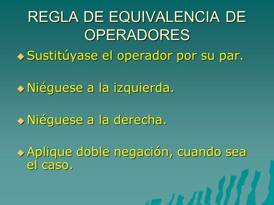 REGLA DE EQUIVALENCIA DE OPERADORES