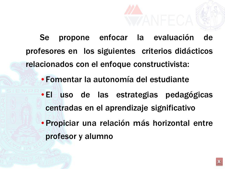 Se propone enfocar la evaluación de profesores en los siguientes criterios didácticos relacionados con el enfoque constructivista: