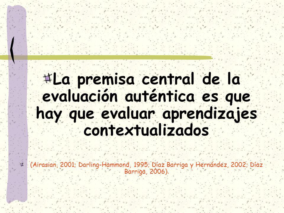 La premisa central de la evaluación auténtica es que hay que evaluar aprendizajes contextualizados