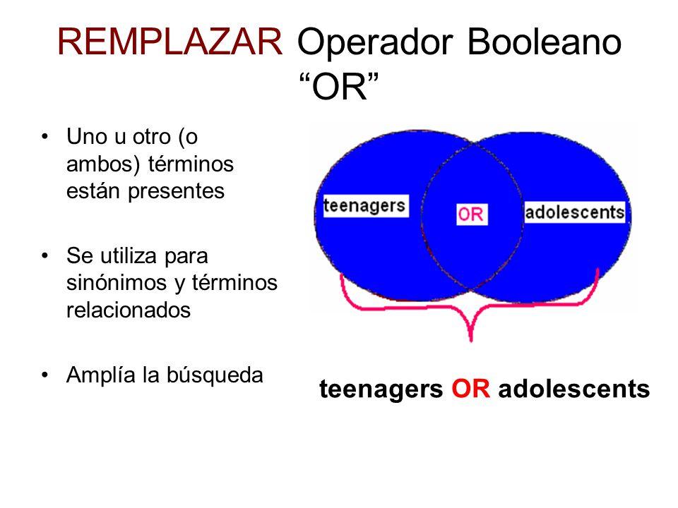 REMPLAZAR Operador Booleano OR