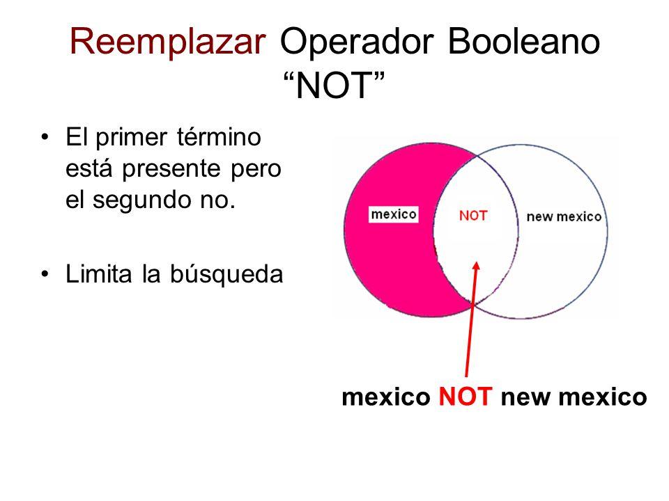 Reemplazar Operador Booleano NOT