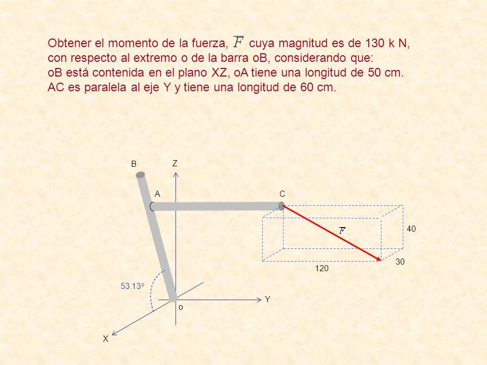 oB está contenida en el plano XZ, oA tiene una longitud de 50 cm.