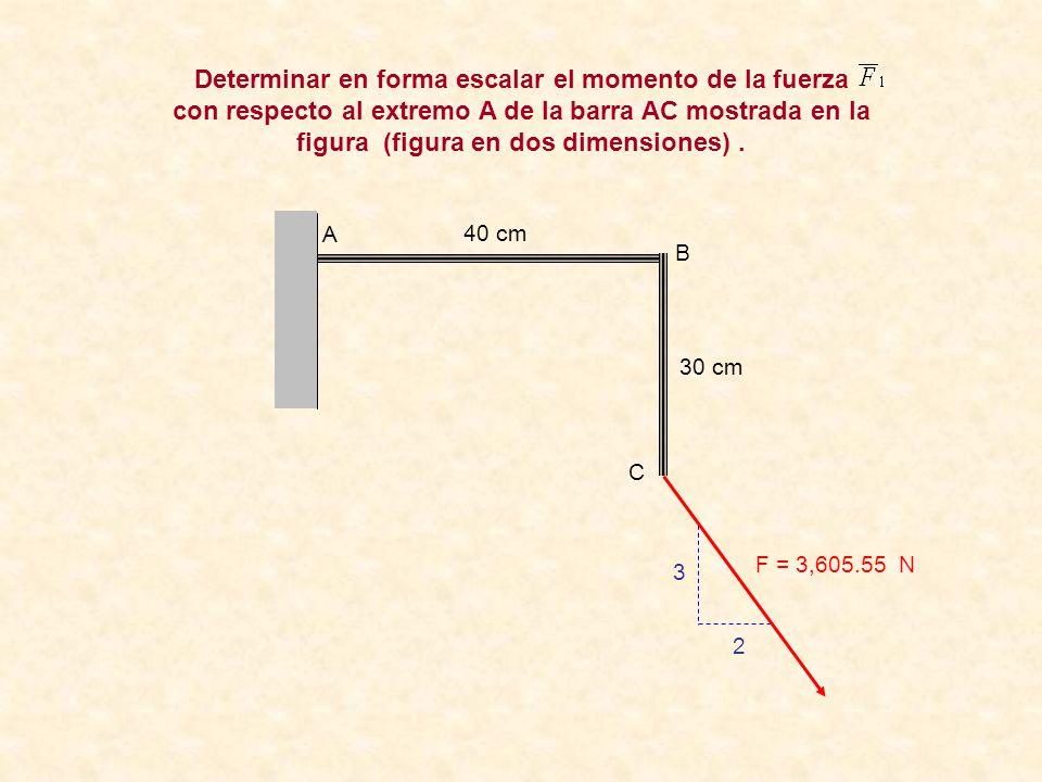 Determinar en forma escalar el momento de la fuerza con respecto al extremo A de la barra AC mostrada en la figura (figura en dos dimensiones) .