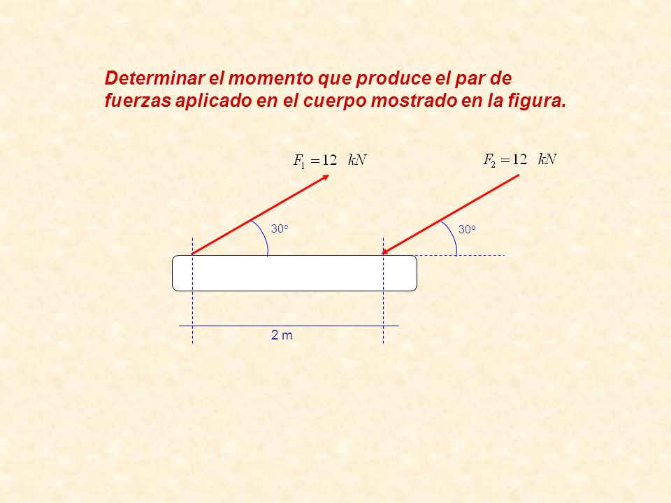 Determinar el momento que produce el par de fuerzas aplicado en el cuerpo mostrado en la figura.