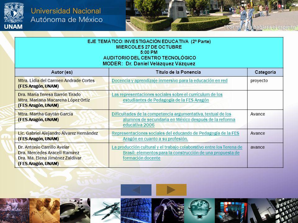 MODER: Dr. Daniel Velázquez Vázquez