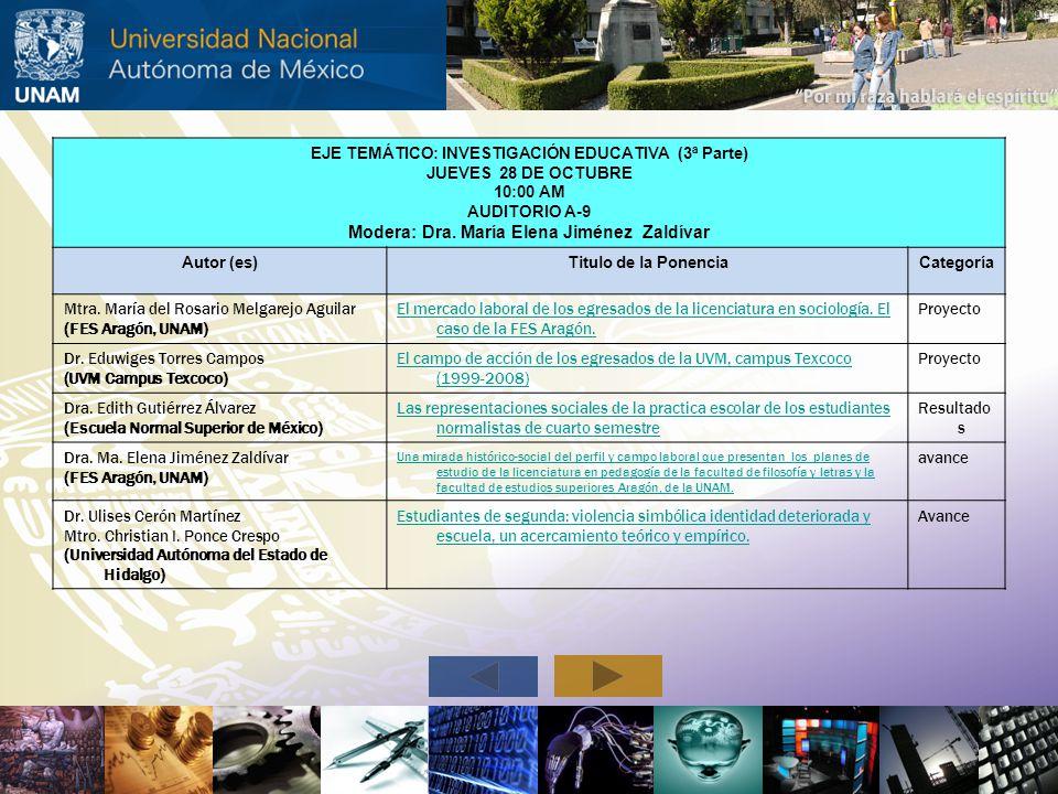 Modera: Dra. María Elena Jiménez Zaldívar