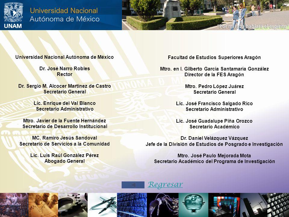 Regresar Universidad Nacional Autónoma de México Dr. José Narro Robles