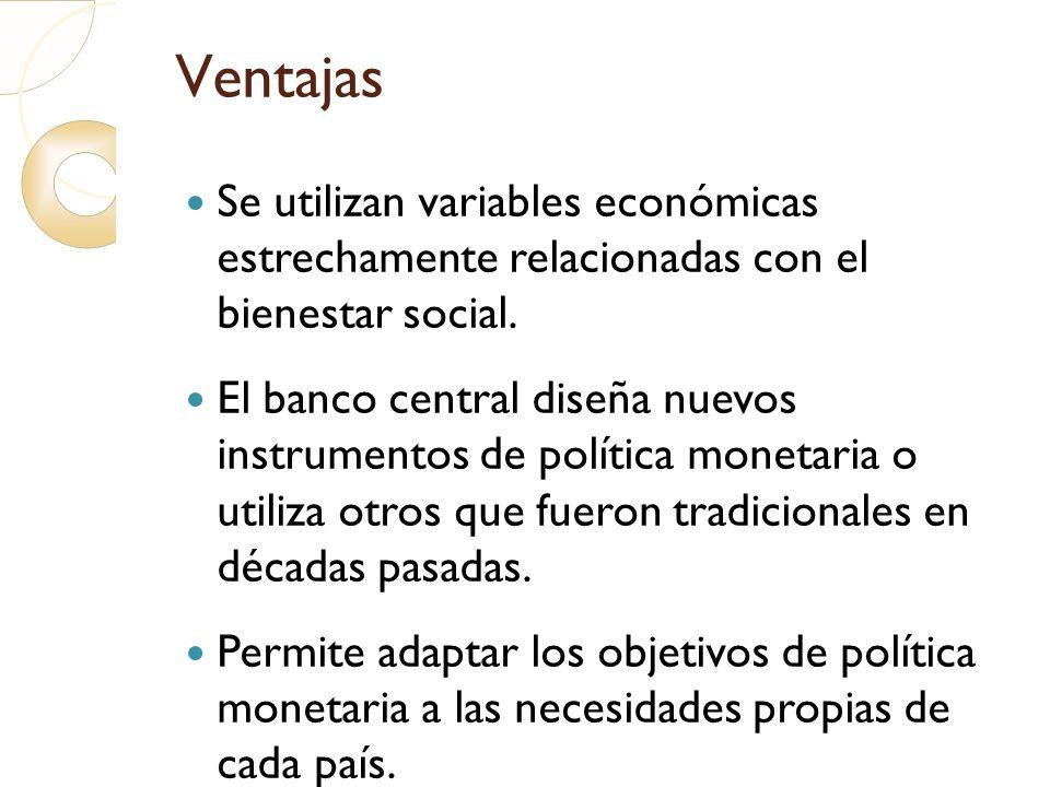 Ventajas Se utilizan variables económicas estrechamente relacionadas con el bienestar social.