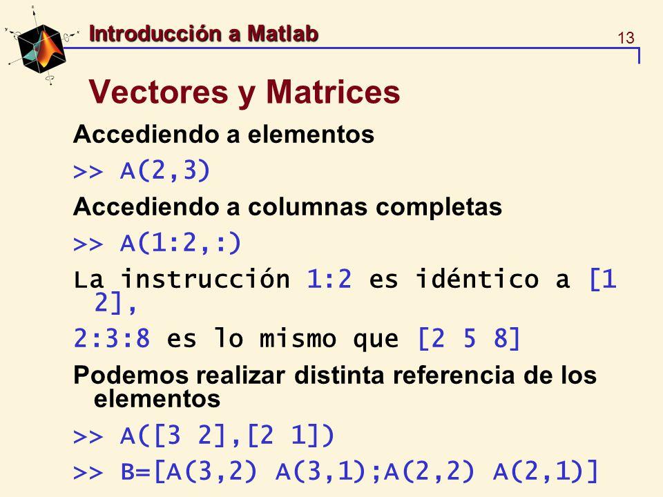Vectores y Matrices Accediendo a elementos >> A(2,3)