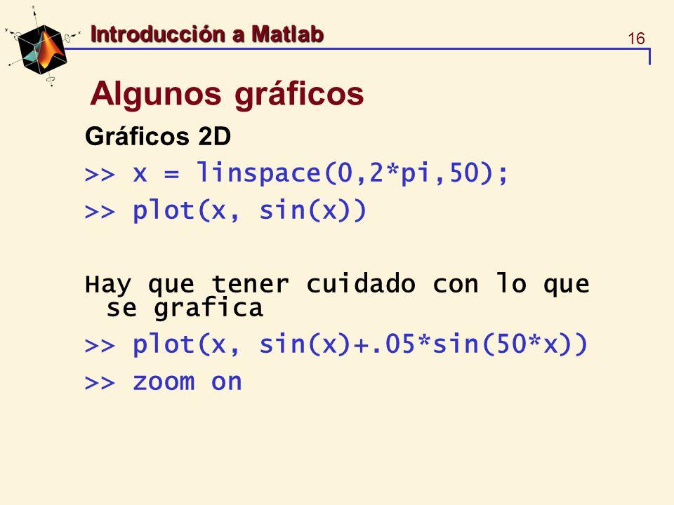 Algunos gráficos Gráficos 2D >> x = linspace(0,2*pi,50);